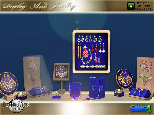 Sims 4 Display and jewelry set by jomsims at TSR