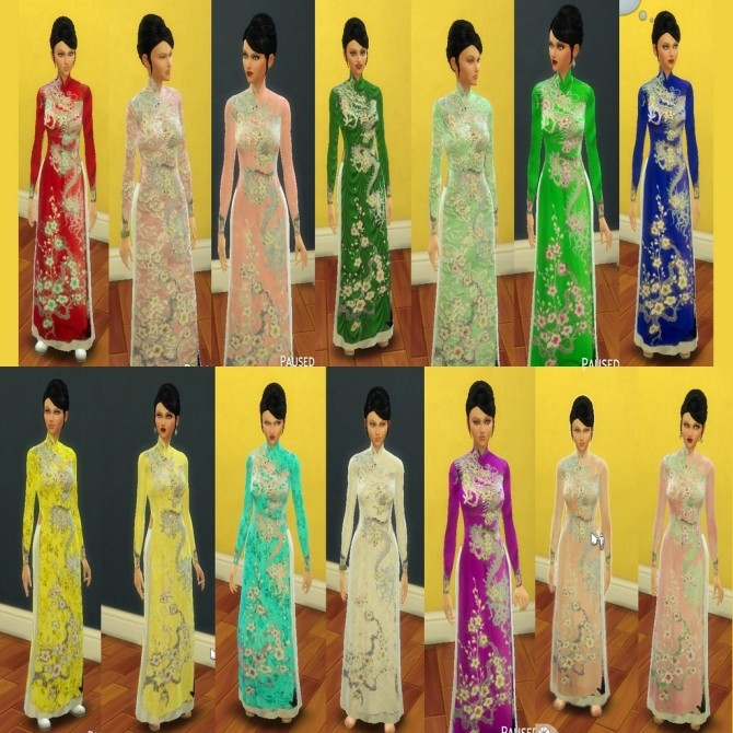 Sims 4 Vietnamese Dress (Áo Dài) by Leniad at SimsWorkshop