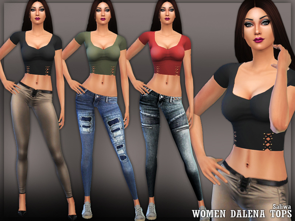 Sims 4 Dalena Tops by Saliwa at TSR