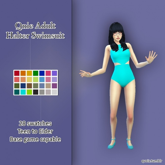 Sims 4 Qnie Halter Swimsuit at qvoix – escaping reality