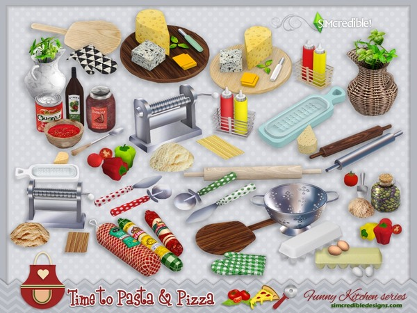 Funny kitchen series Time to Pasta and Pizza by SIMcredible! at TSR image 1030 Sims 4 Updates