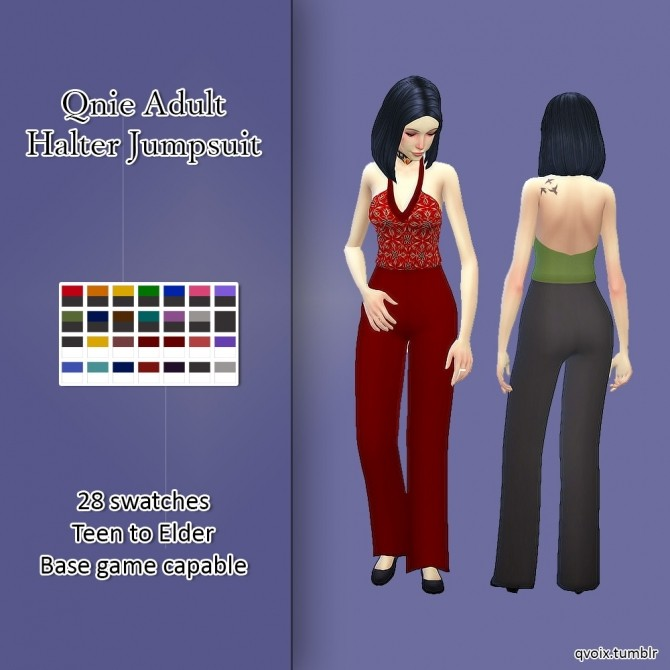 Sims 4 Halter Jumpsuit at qvoix – escaping reality
