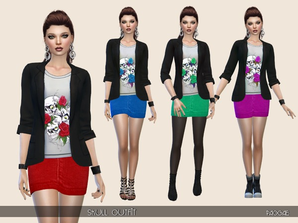 Sims 4 Skull Outfit by Paogae at TSR
