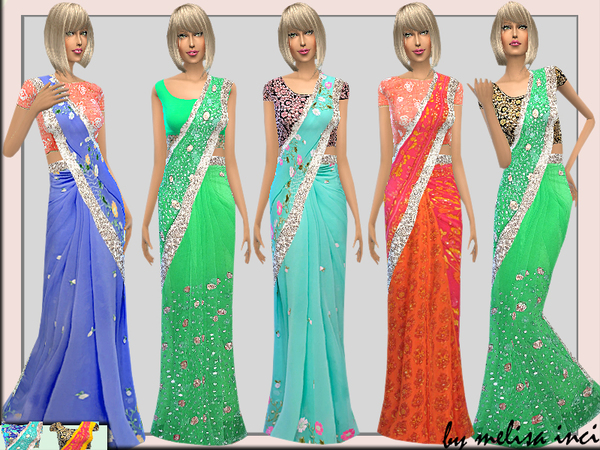 Sims 4 Embroidered Silk Saree by melisa inci at TSR