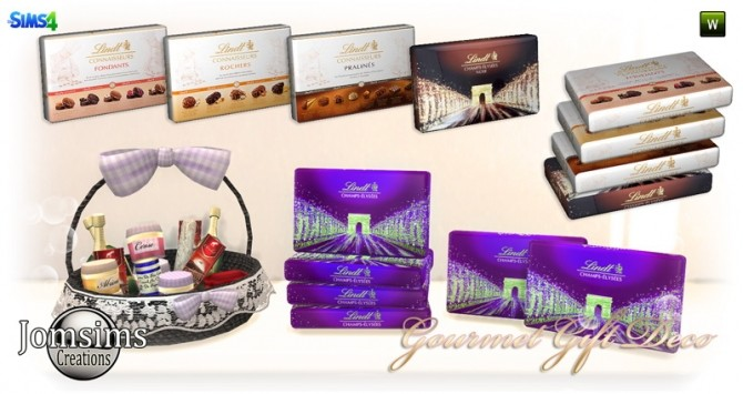 Sims 4 Box of chocolates, basket, various gourmet deco at Jomsims Creations
