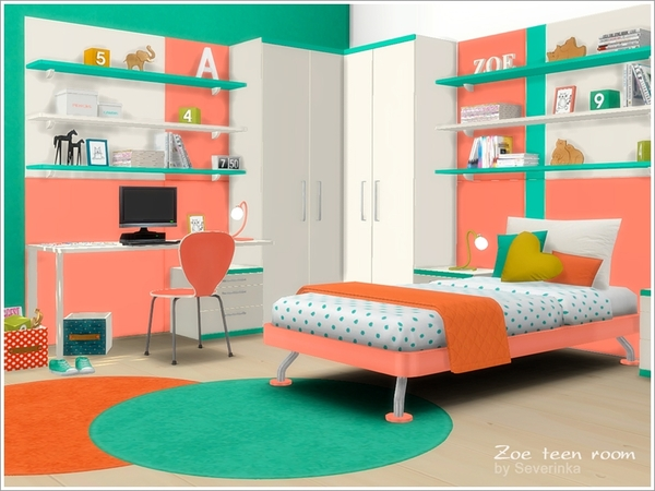 Sims 4 Zoe teen room furniture by Severinka at TSR