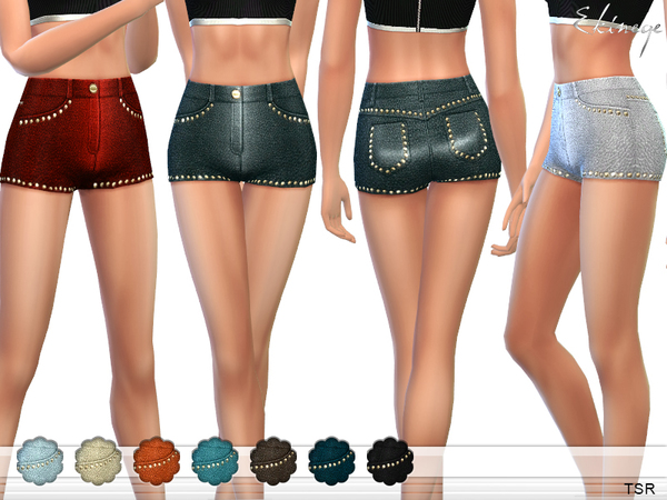 Sims 4 High Waisted Leather Shorts by ekinege at TSR