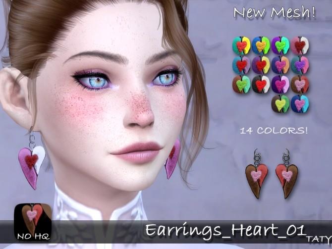 Sims 4 Heart earrings 01 at Taty – Eámanë Palantír