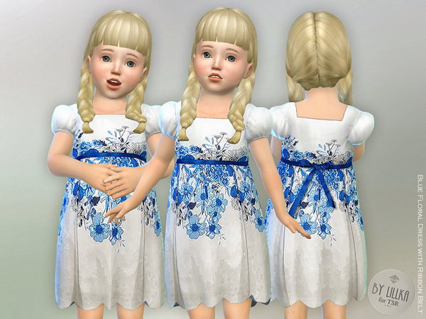 Sims 4 Blue Floral Dress with Ribbon Belt by lillka at TSR