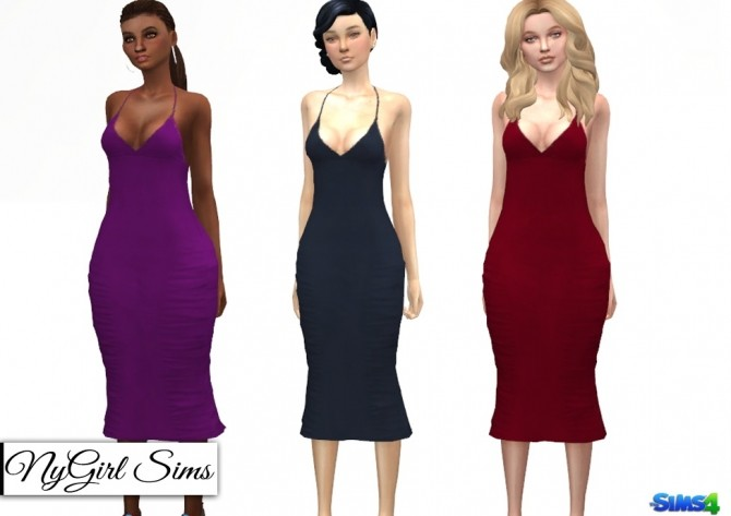 Sims 4 Ruched and Ruffled Pencil Dress at NyGirl Sims