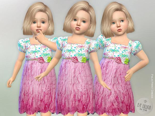Palm Print Dress by lillka at TSR image 1370 Sims 4 Updates