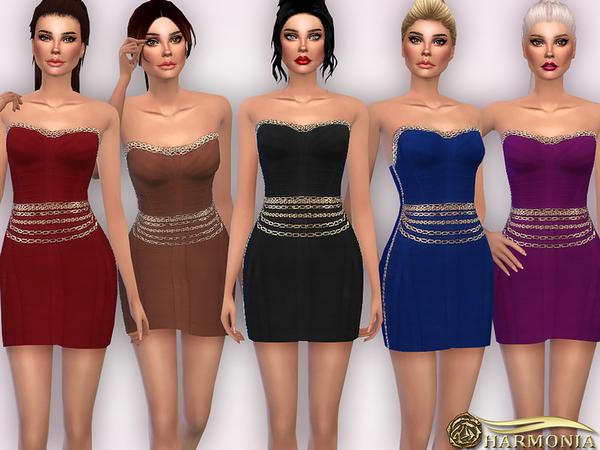 Sims 4 Chain embellishments Body con Dress by Harmonia at TSR