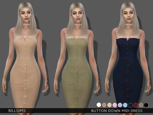 Sims 4 Button Down Midi Dress by Bill Sims at TSR