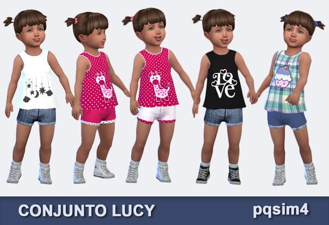 Sims 4 Lucy outfit by Mary Jiménez at pqSims4
