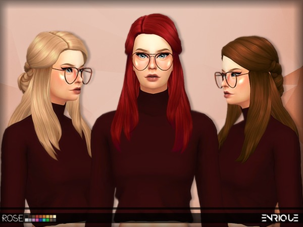 Sims 4 Enriques4 Rose Hair by Jruvv at TSR