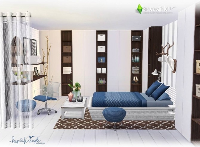 Keep life simple bedroom at simcredible designs 4 sims for Bedroom designs sims 4