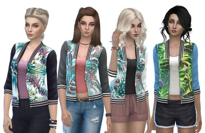 Sims 4 Tropical Bomber Jackets by MissCandy at Mod The Sims