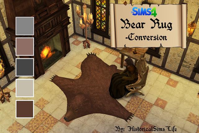 Sims 4 TSM Bear Rug Conversion + Recolors at Historical Sims Life