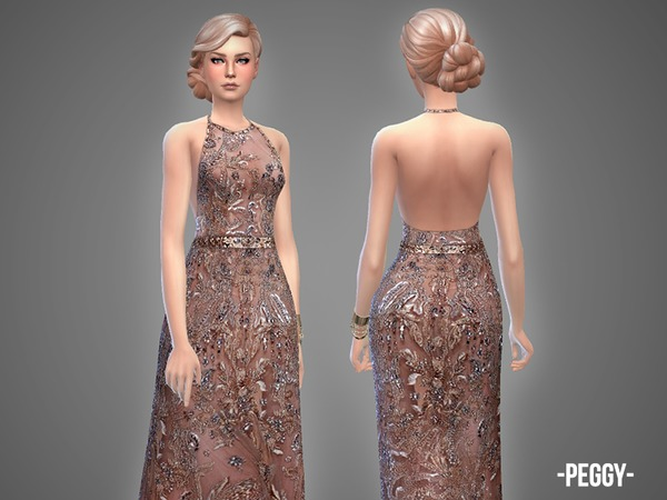 Peggy embroidered halter gown by April at TSR image 1550 Sims 4 Updates