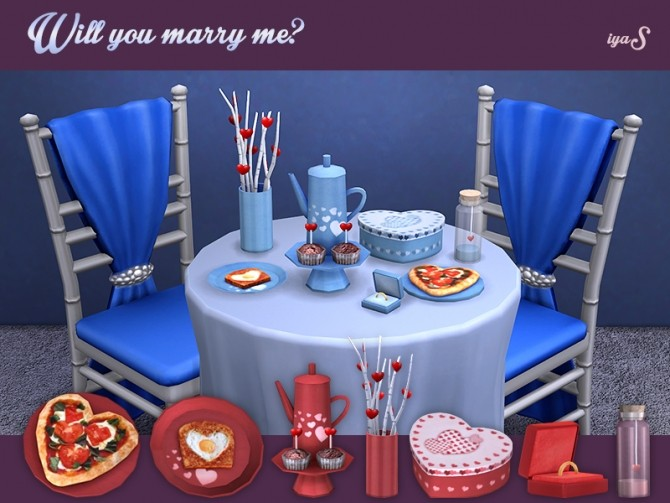 Sims 4 Will You Marry Me? deco set at Soloriya