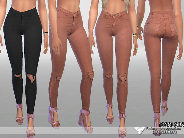 Sims 4 Fall Denim Jeans by Pinkzombiecupcakes at TSR