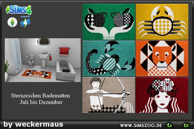 Zodiac bath rug 02 by weckermaus at blacky s sims zoo for Zodiac bathroom accessories