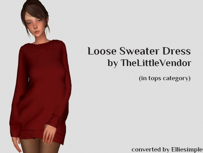 Loose Sweater Dress at Elliesimple image 1657 670x505 Sims 4 Updates