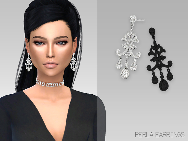 Sims 4 Perla Earrings by Grafity Sims at TSR