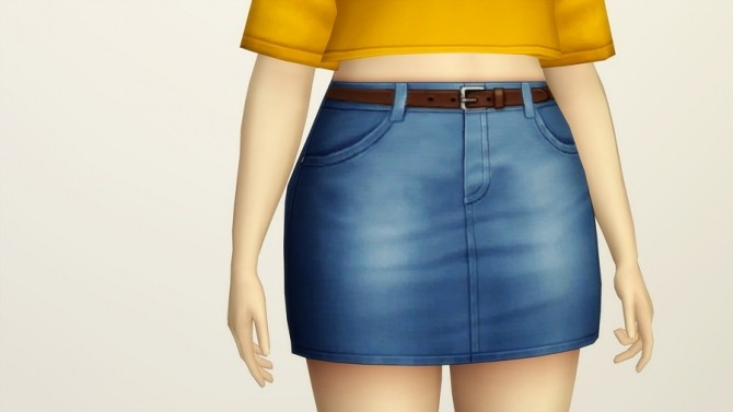 High Rise Denim Skirts Belt 20 Colors At Rusty Nail 187 Sims