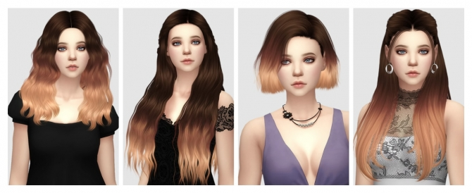 Ombre hair add-on versions at Aveira Sims 4 » Sims 4 Updates