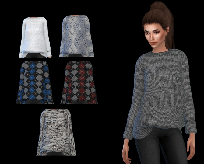 Puresims Oversized Sweater At Leo Sims 187 Sims 4 Updates