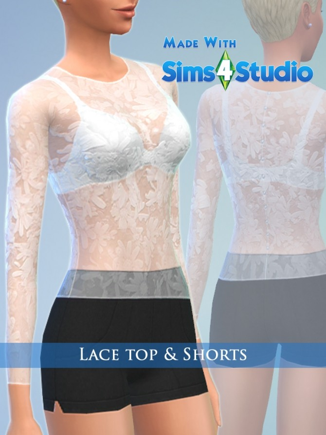 Lace top & Shorts Set for Female by play jarus at Mod The Sims image 19114 670x893 Sims 4 Updates