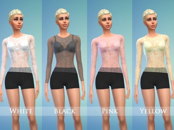 Lace top & Shorts Set for Female by play jarus at Mod The Sims image 19311 670x503 Sims 4 Updates