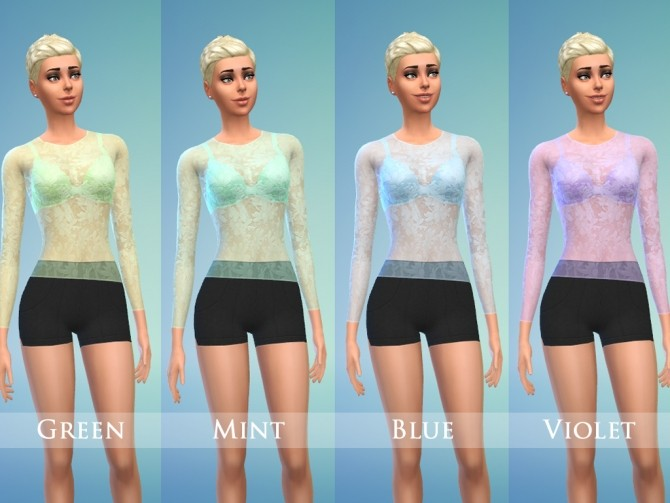 Lace top & Shorts Set for Female by play jarus at Mod The Sims image 19410 670x503 Sims 4 Updates