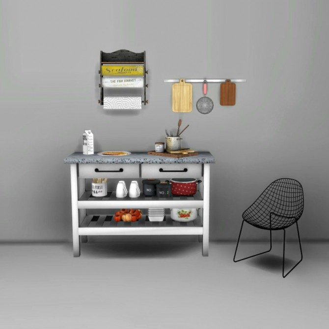 Sims 4 Kitchen Island and Carlesso Chair at Leo Sims