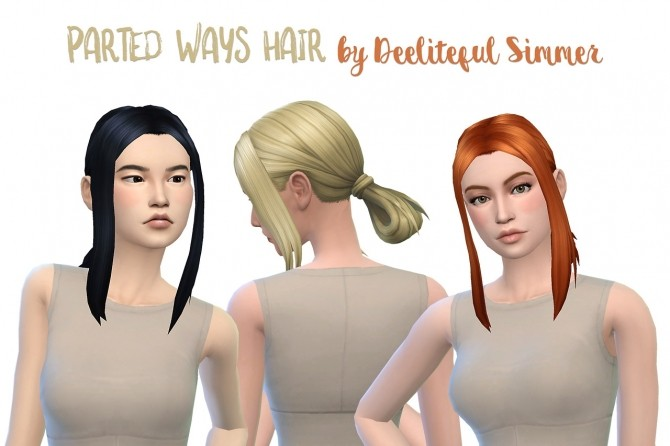 Sims 4 Parted ways hair recolors at Deeliteful Simmer
