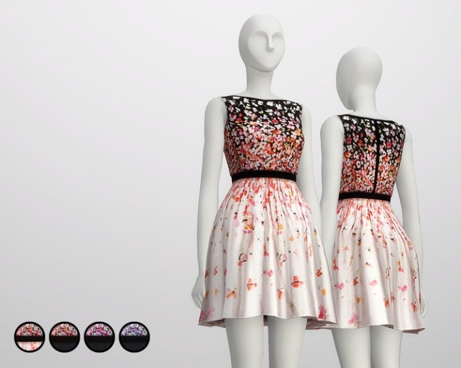 Black cherry blossom dress at Rusty Nail image 1988 670x536 Sims 4 Updates