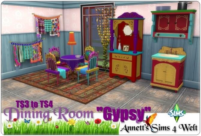Sims 4 TS3 to TS4 Gypsy diningroom conversion at Annett's Sims 4 Welt