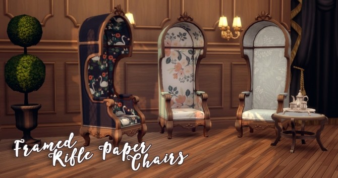 Sims 4 Framed Rifle Paper Chairs at Hamburger Cakes