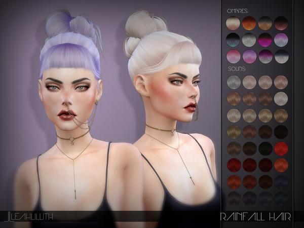 Sims 4 Rainfall Hair by Leah Lillith at TSR