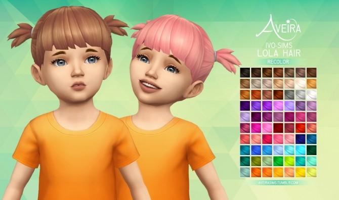 Sims 4 Ivo Sims Lola Hair Recolor at Aveira Sims 4