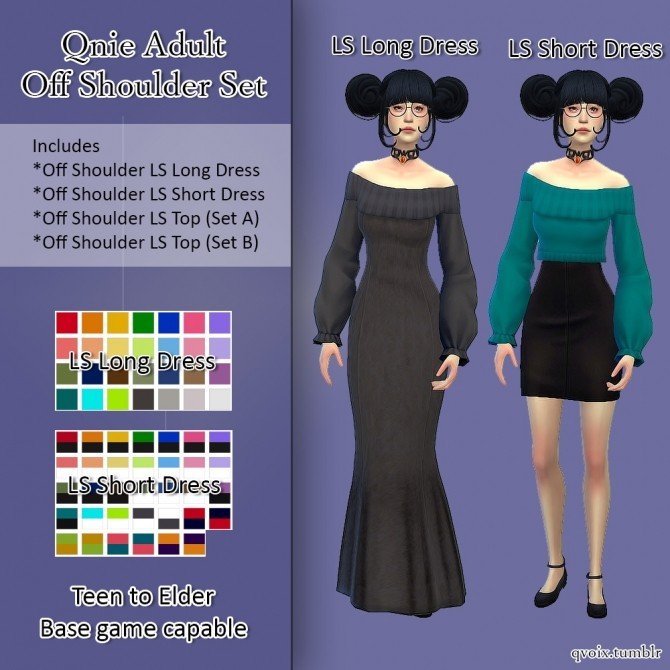 Sims 4 Qnie Off Shoulder Set at qvoix – escaping reality