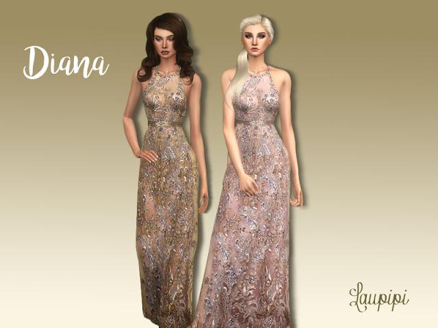 Sims 4 Diana embellished dress at Laupipi