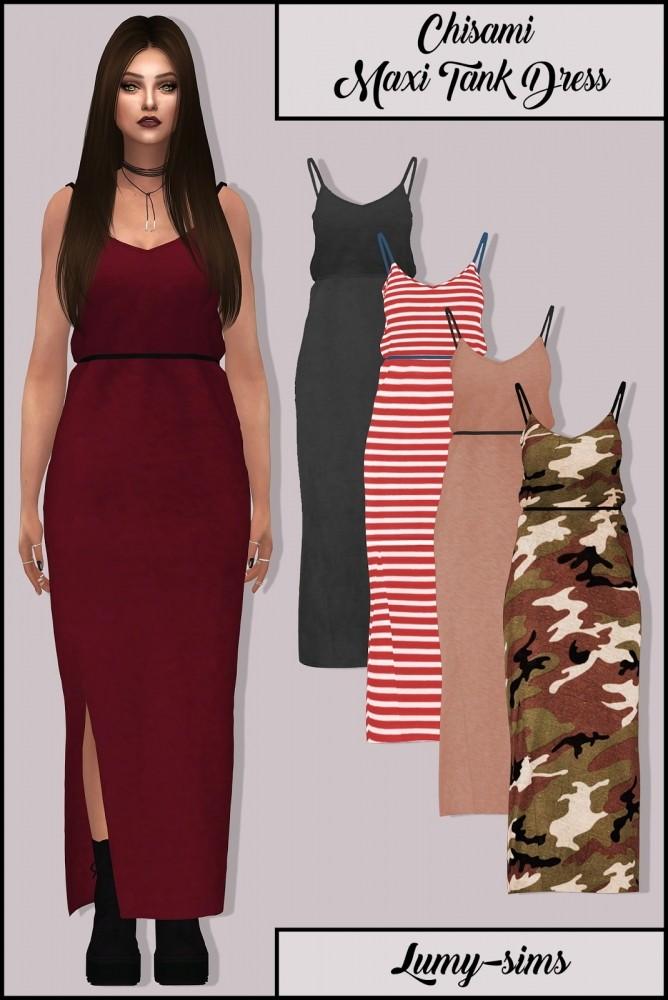 Sims 4 Chisami Maxi Tank Dress at Lumy Sims