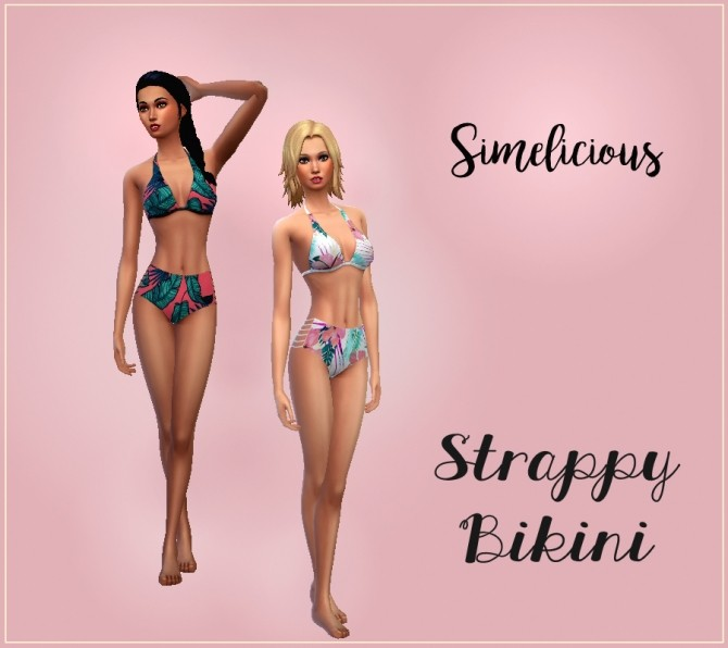 Sims 4 High Waisted Strappy Bikini at Simelicious