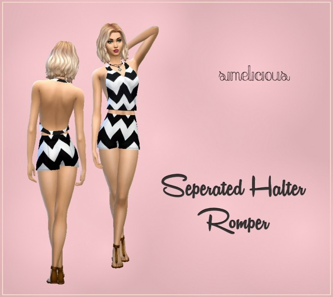 Sims 4 Separated Halter Romper at Simelicious