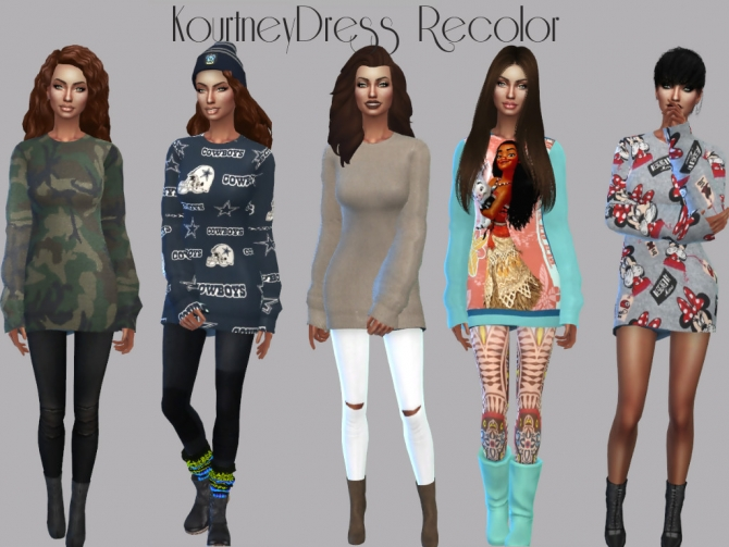 Populaire Kourtney Sweater Dress Recolor at Teenageeaglerunner » Sims 4 Updates CD79