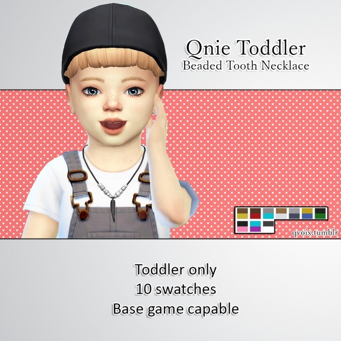 Sims 4 Qnie Toddler Beaded Tooth Necklace at qvoix – escaping reality
