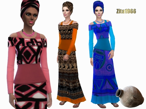 Sims 4 Hello Africa outfit by ZitaRossouw at TSR