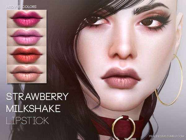 Sims 4 Strawberry Milkshake Lipstick N110 by Pralinesims at TSR